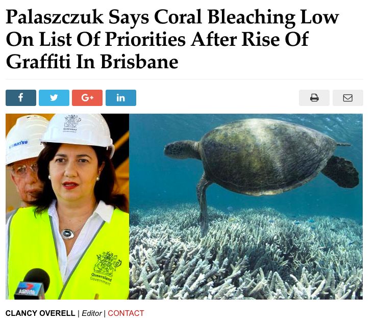 Palaszczuk Says Coral Bleaching Low On List Of Priorities After Rise Of Graffiti In Brisbane scott marsh the culprit club