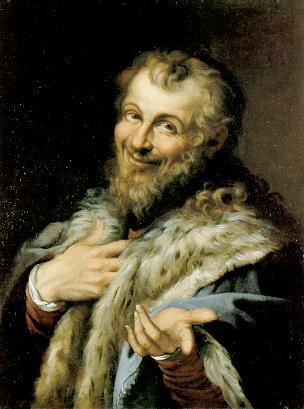 A painting of Democritus (apparently enjoying that last laugh)