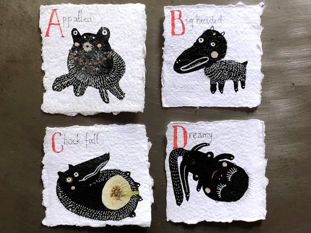 A-Z of honest creatures. 4x4. $70 (whole alphabet $1200)