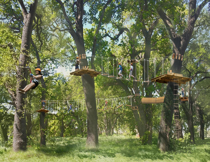 Rendering of Ropes Course in actual trees on site at Heritage Oaks Park, West Sacramento, CA.