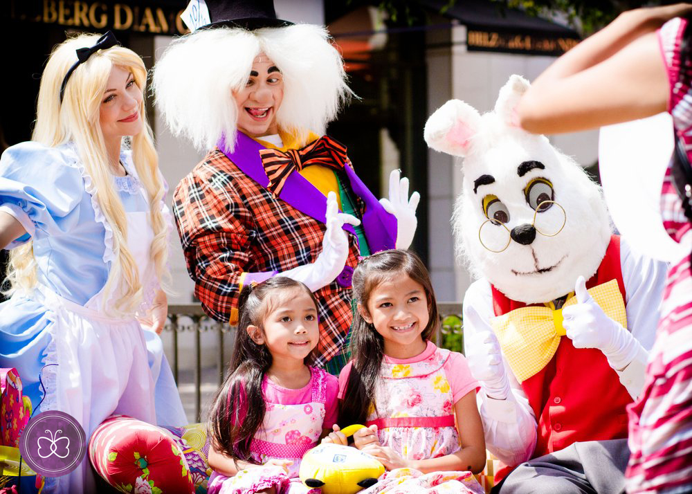 Alice in Wonderland, the Mad Hatter, and the White Rabbit join the annual Easter/Springtime celebration at Victoria Gardens in Rancho Cucamonga.