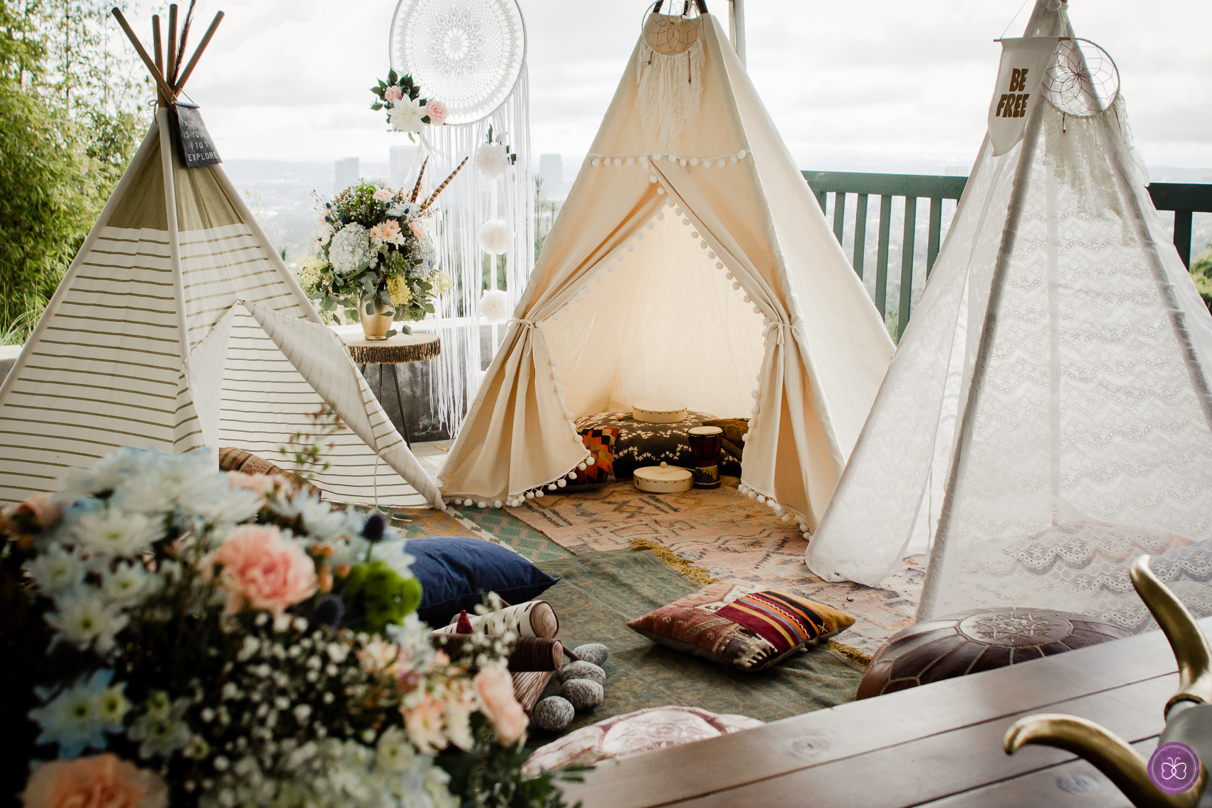 A boho chic party with it's own little tipi town for our client in Beverly Hills.