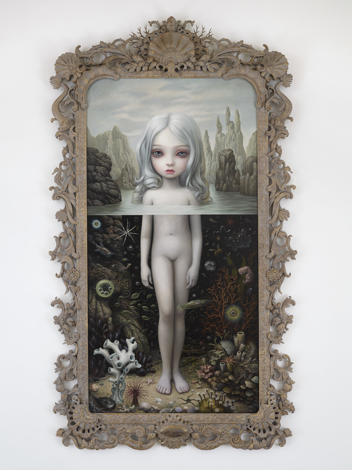 Aurora in her frame which has been designed and painted by Mark Ryden, hand carved in Indonesia by master artisans the painting size is 112 x 58 inches; 284.48 x 147.32 cm but reaches to 340cm in her frame.