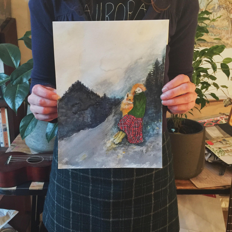 original fox irl painting held by artist.JPG
