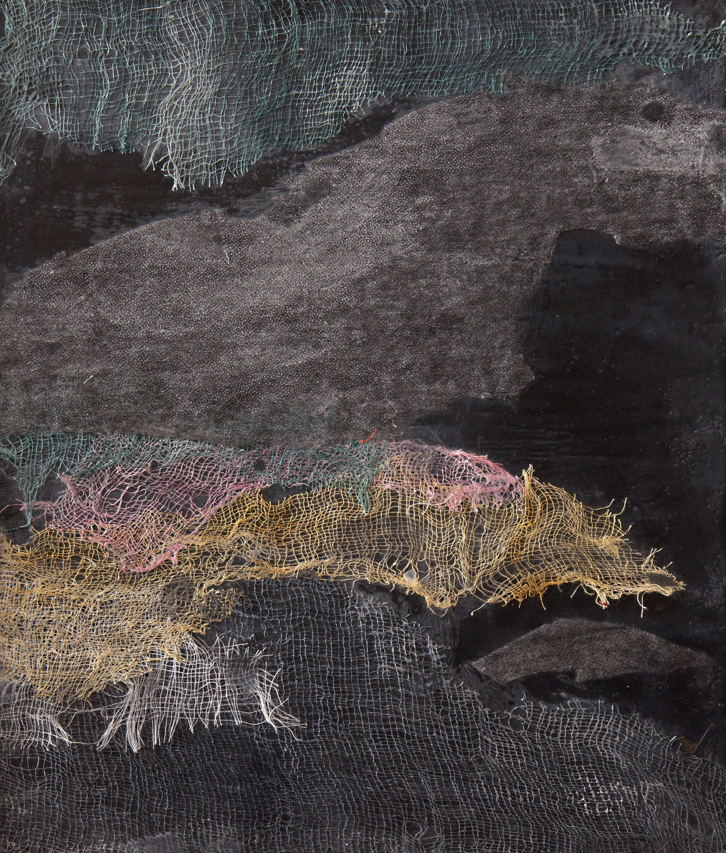 Image: Beverley Spiller, Fortuitous Occurence, Encaustic and Fabric, 26cm x 31cm