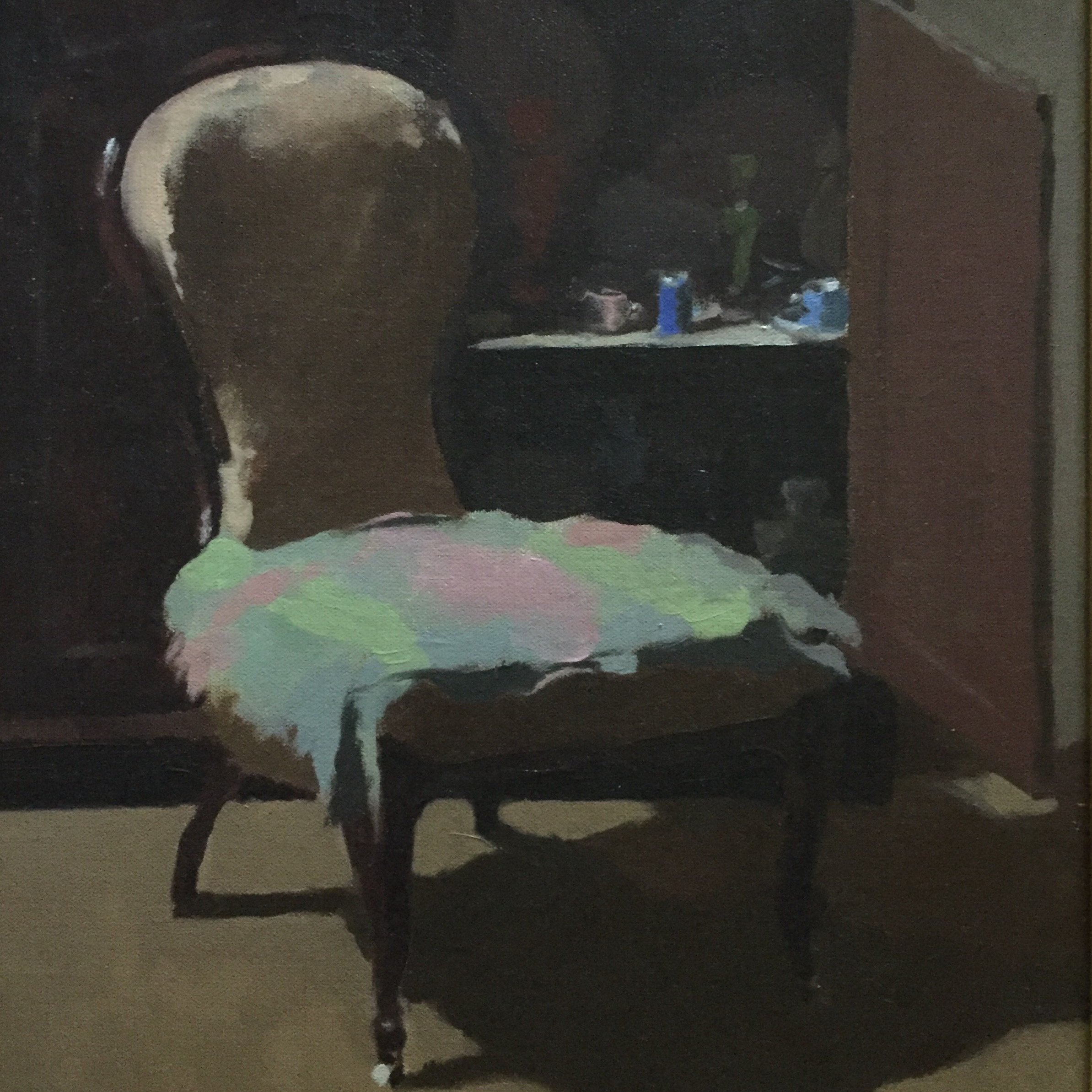 Adam Frith,  Grandmother's Chair,  oil on linen, 51cm x 41cm