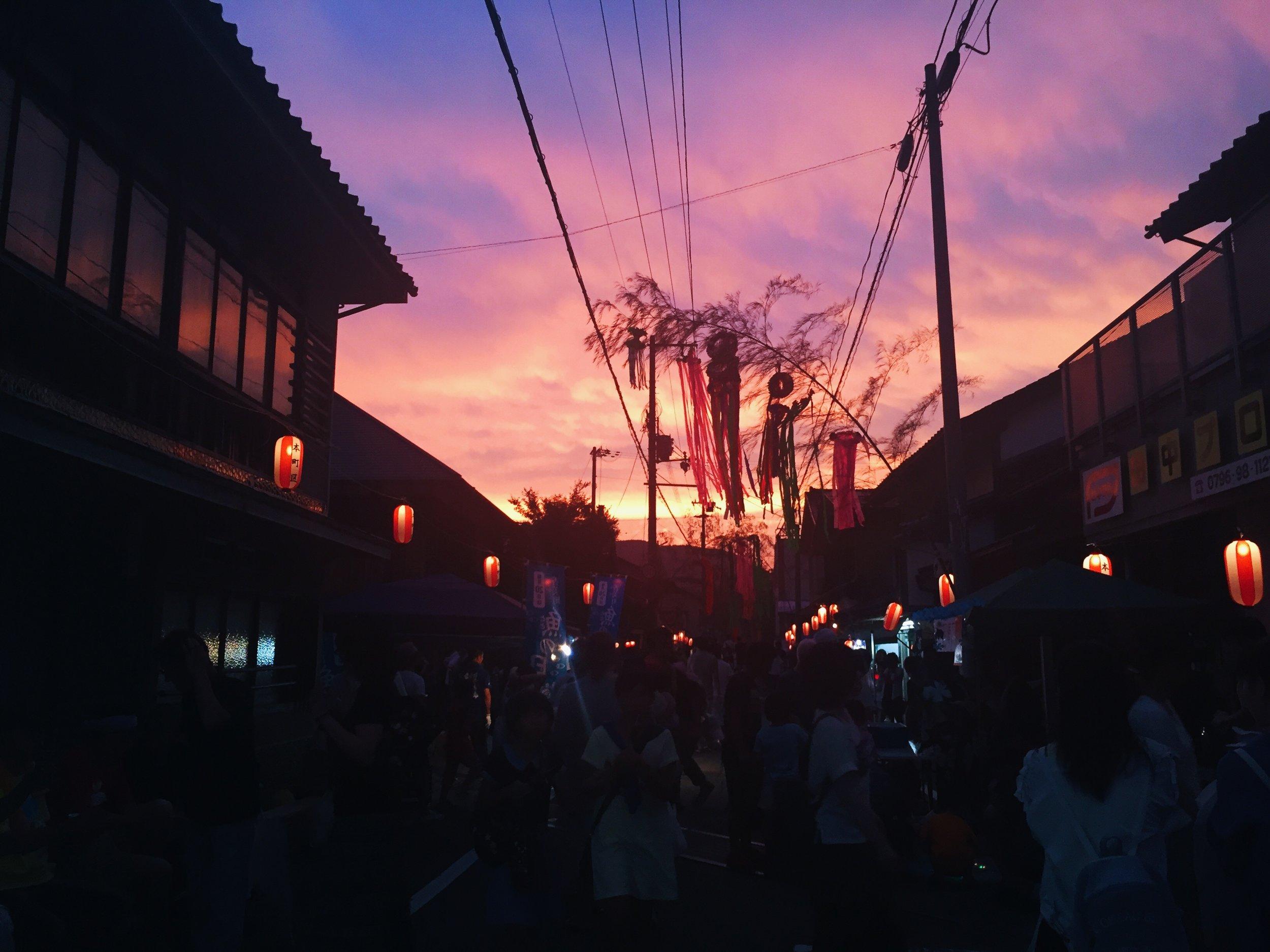 Japanese rural village summer festival