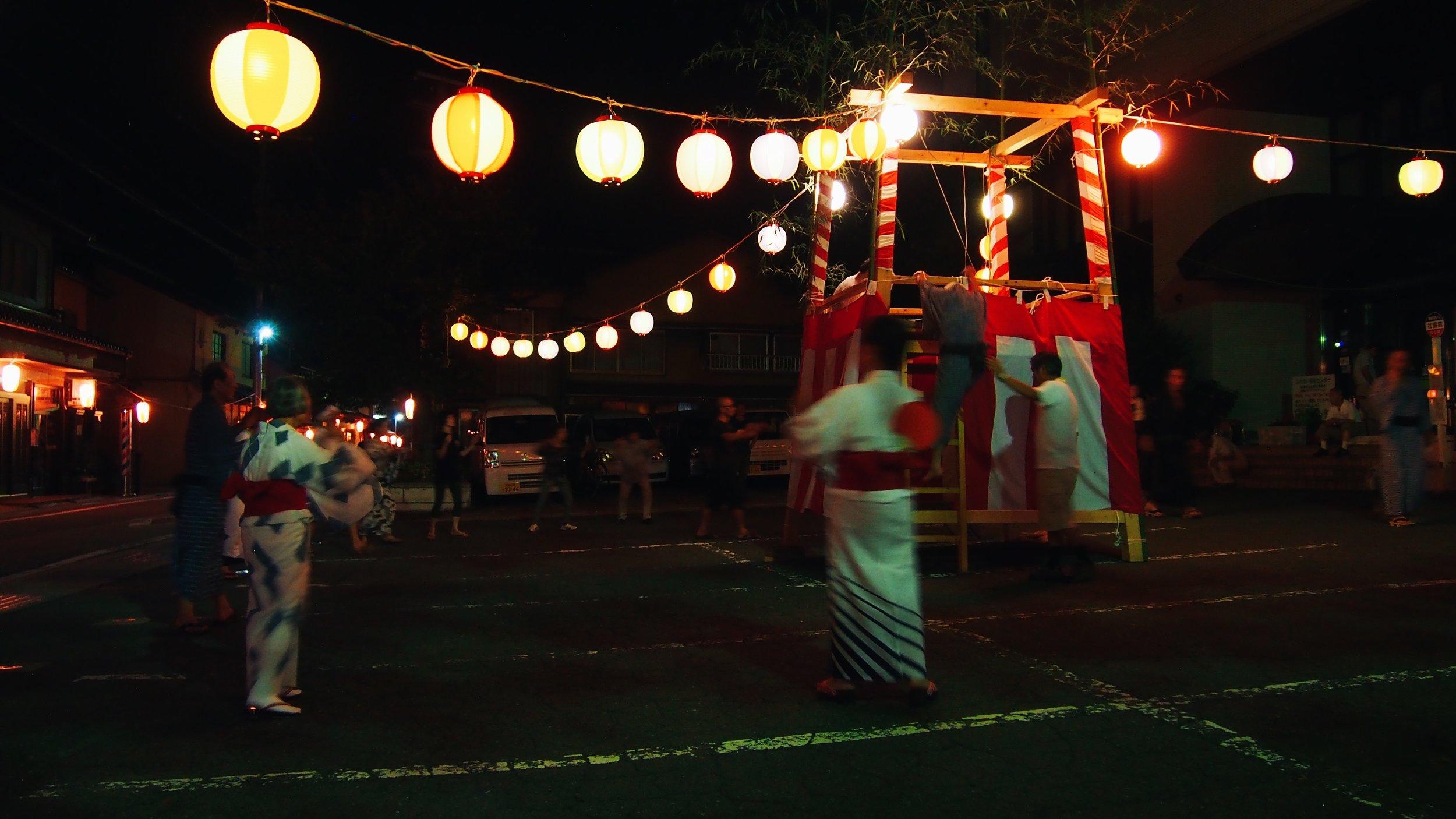 Bon odori in a village in Japan