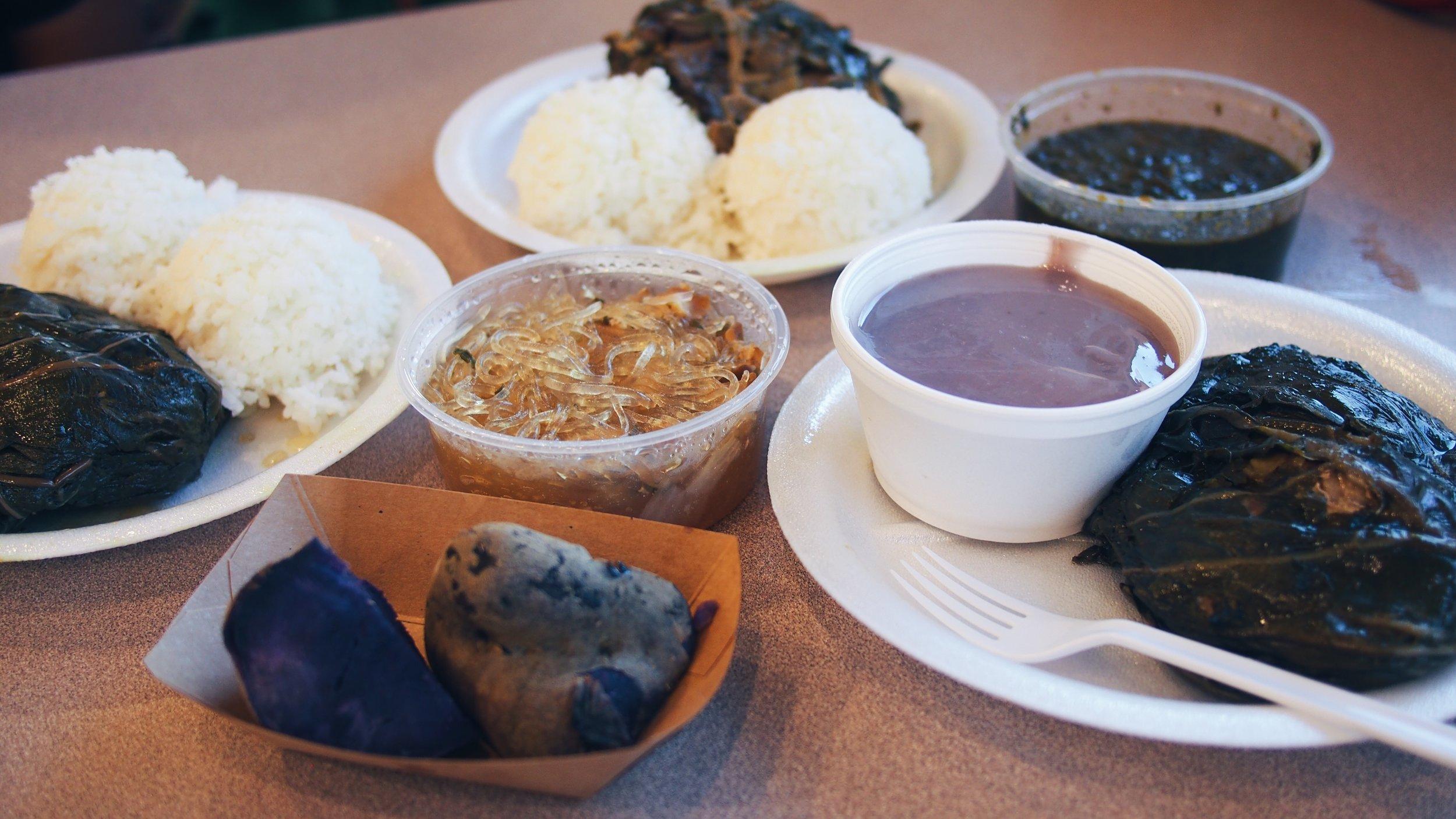 Hawaiian food - Poi, laulau, chicken longrice