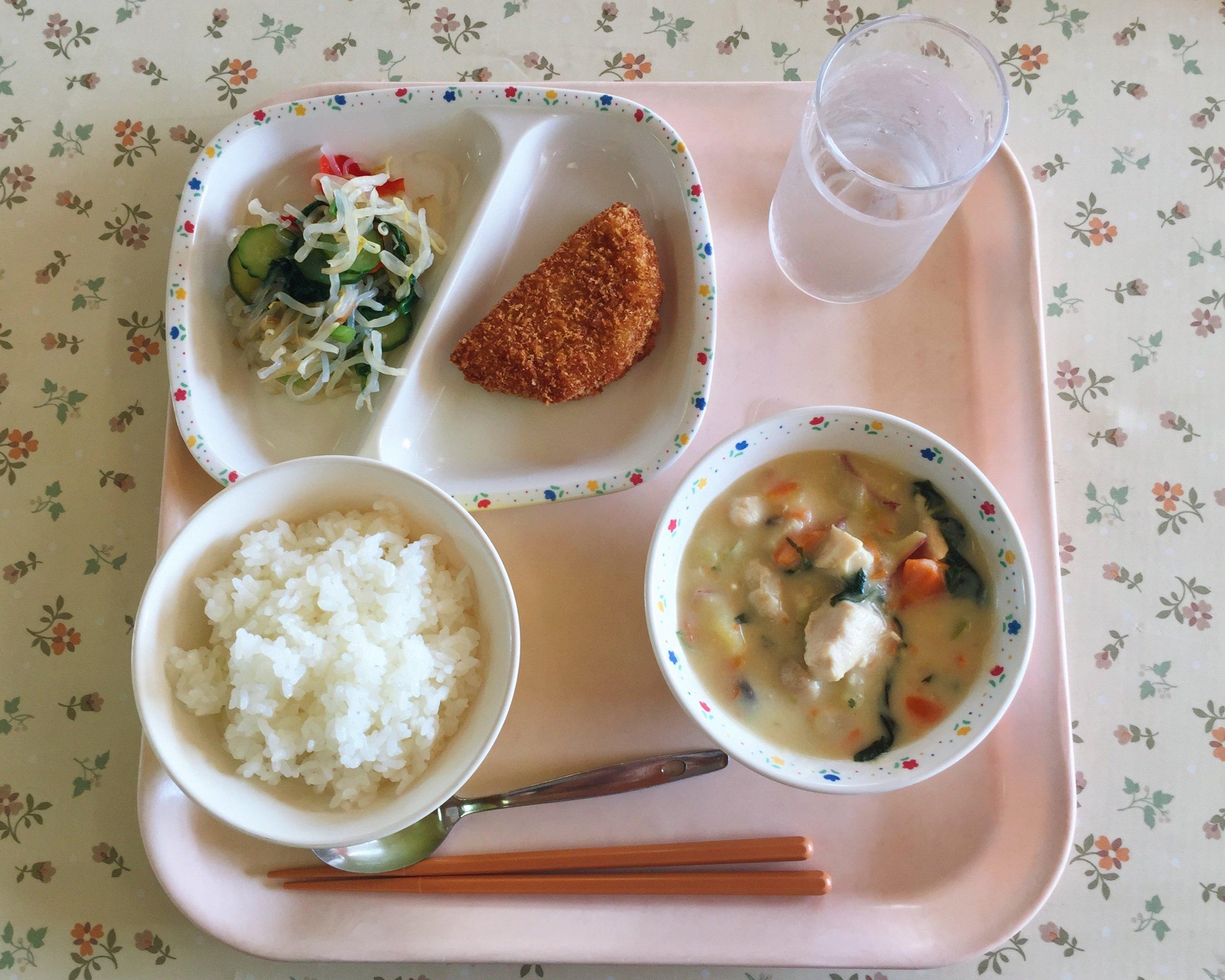 Ham cutlet, konnyaku salad, sweet potato cream stew, and white rice
