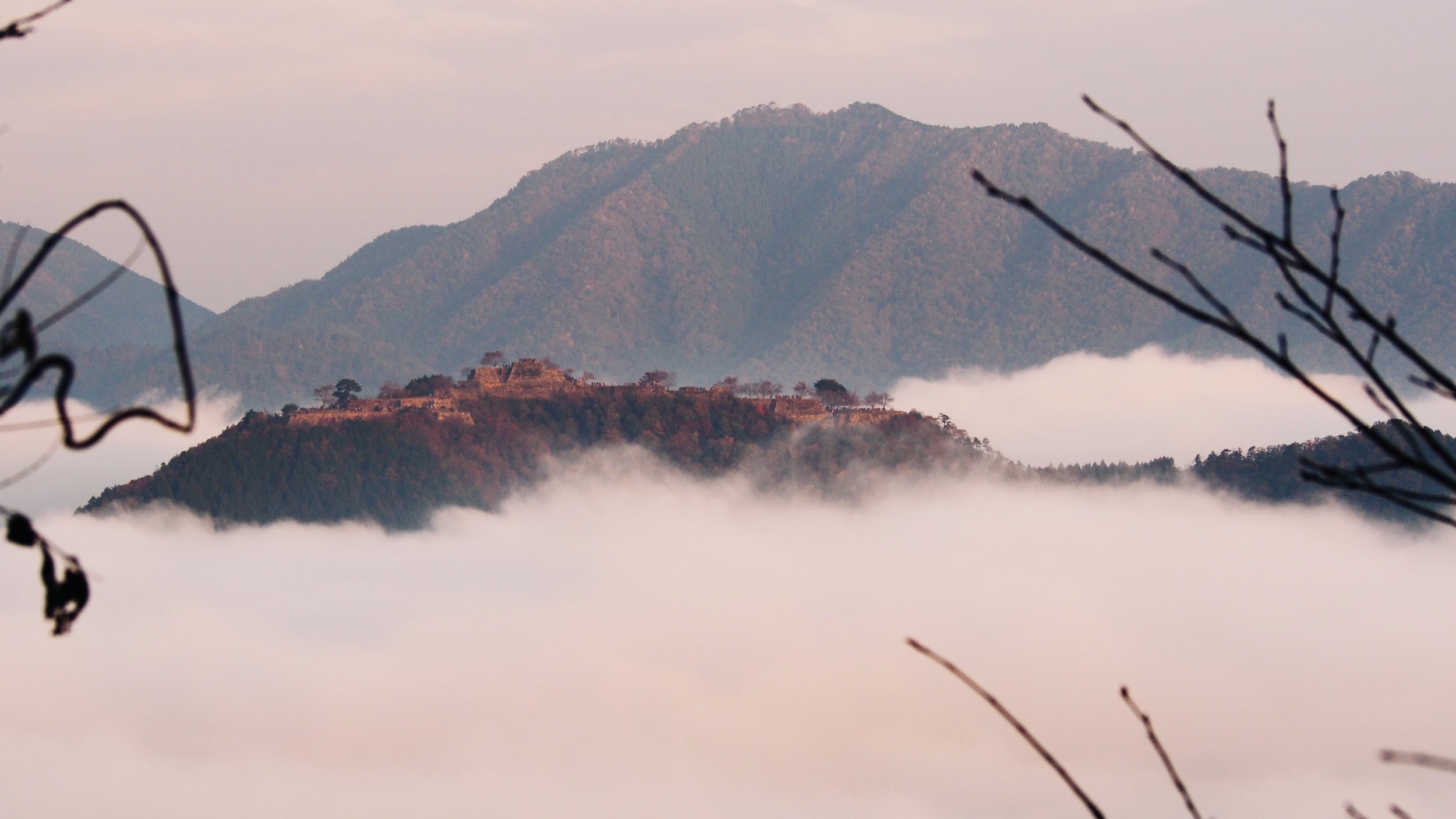 The Takeda Castle ruins in the morning fog. The real life Castle in the Sky in Hyogo, Japan.