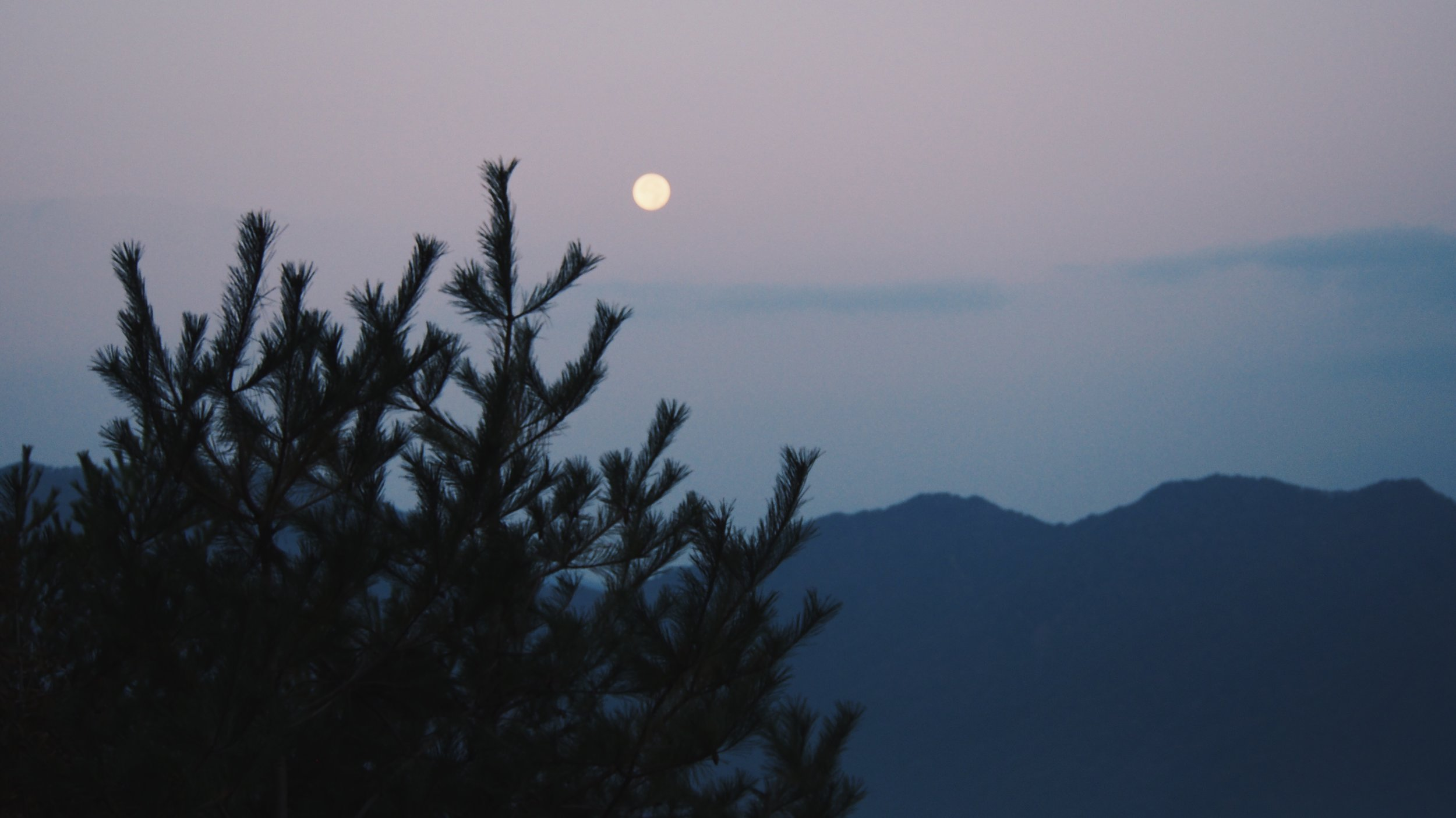 The moon in the morning sunrise