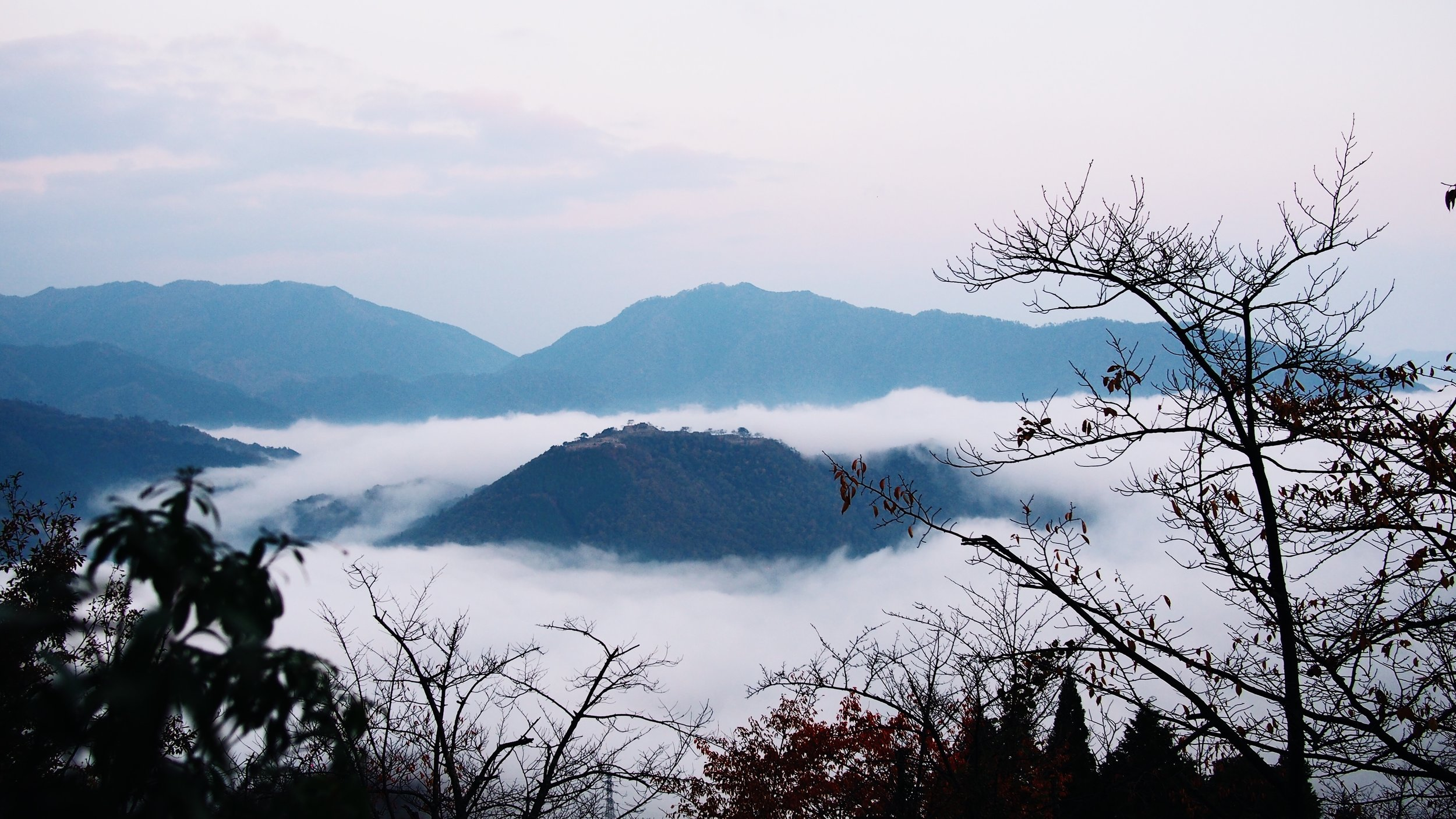 The Takeda Castle Ruins in the early morning light