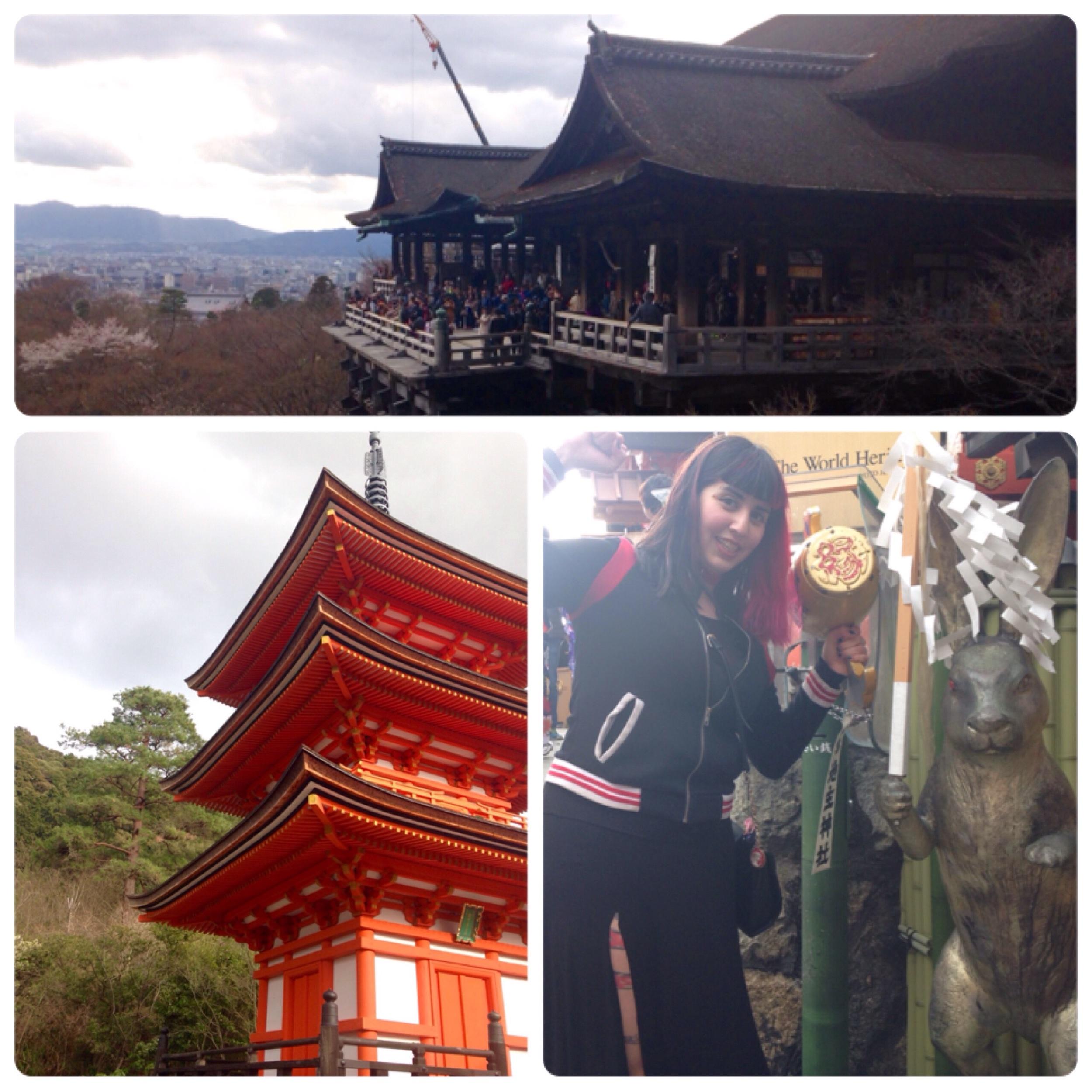 The main shrine on top, a pagoda and me with the love bun.