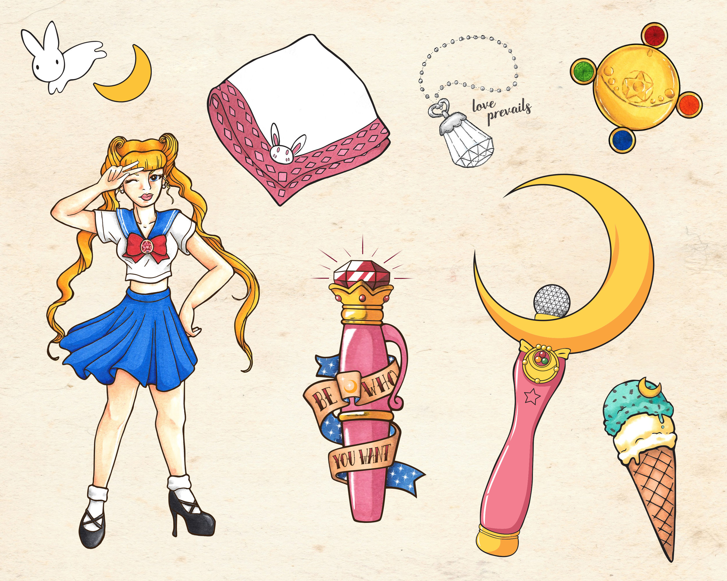 Sailor Moon Themed Sheet of Tattoo Flash  |  Ink, Marker, Adobe Suite