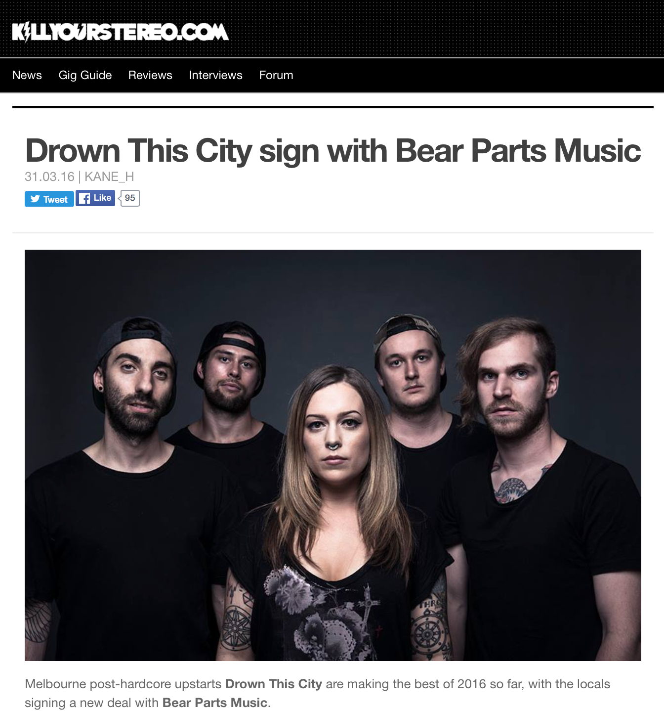 Drown This City sign with Bear Parts Music! Read the full article below via Kill Your Stereo    http://www.killyourstereo.com/news/1083082/drown-this-city-sign-with-bear-parts-music
