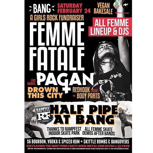 Playing this HUGE show at @bangmelbourne this Saturday night 24.02.18 with mates @pagancult + @weareredhook + @bodyparts.online . . #bang #bangmelbourne #gig #live #party #girls #gals #femme #equality #music #metal #alternative #posthardcore