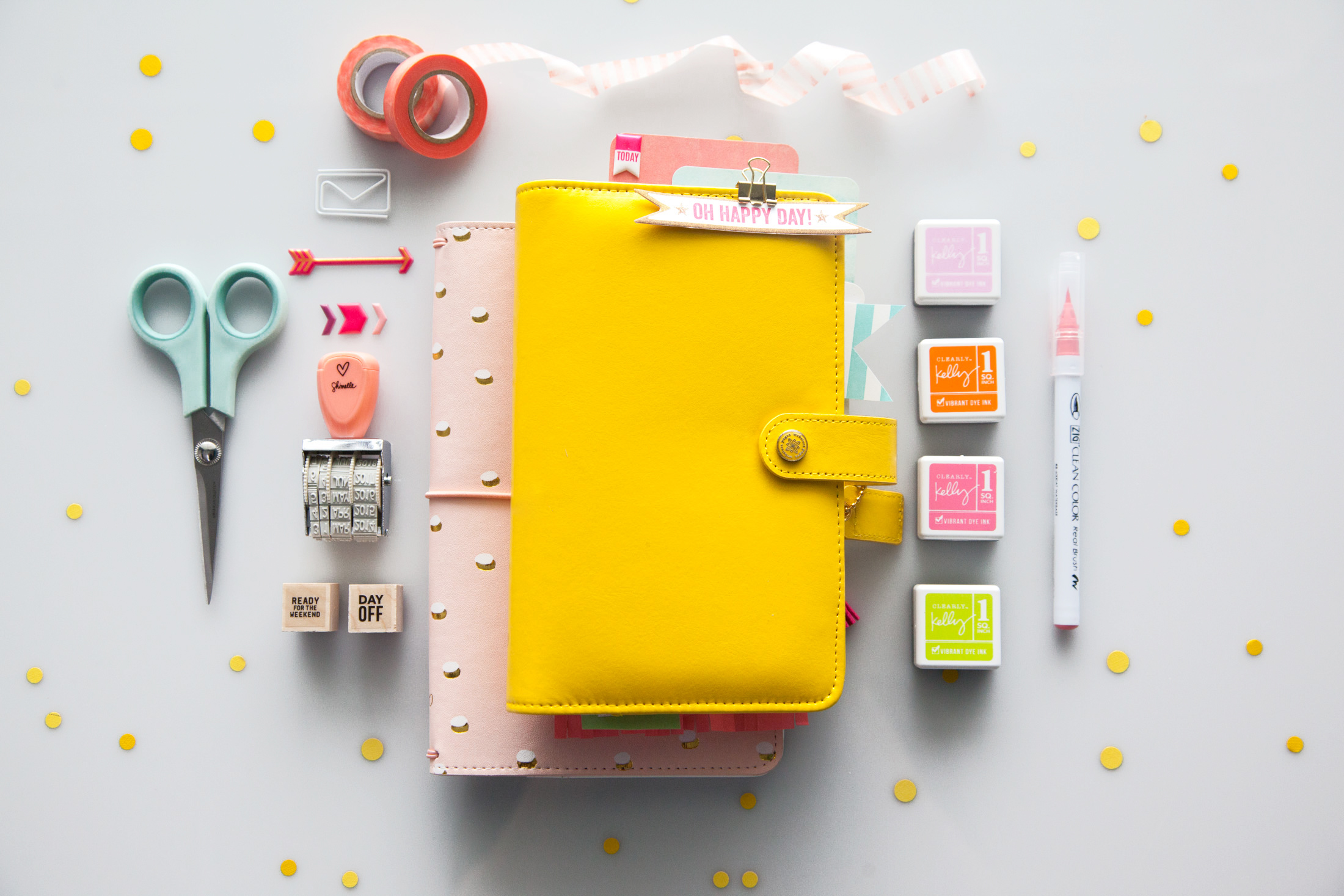 Yellow Webster's pages planner, kelly purkey stamps.jpg