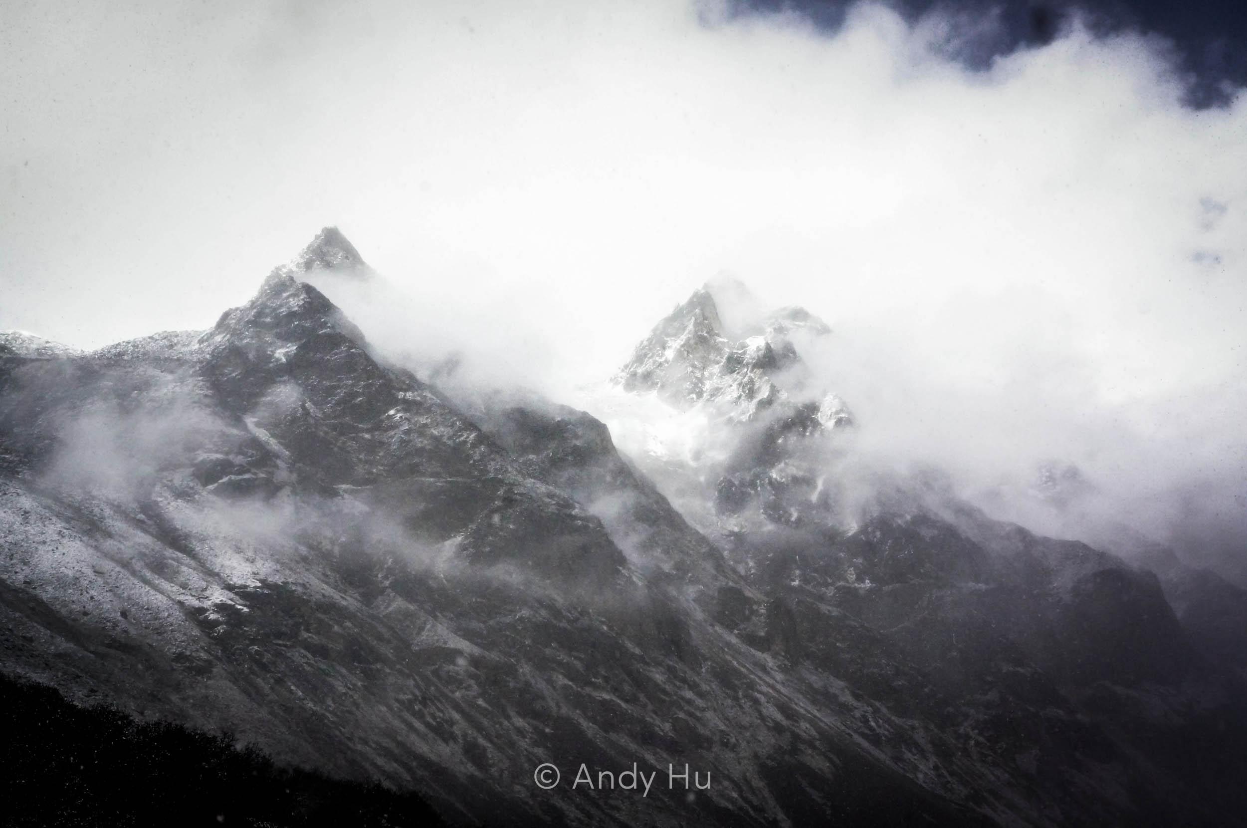 Mountains veiled by clouds, Mt. Gongga Trek
