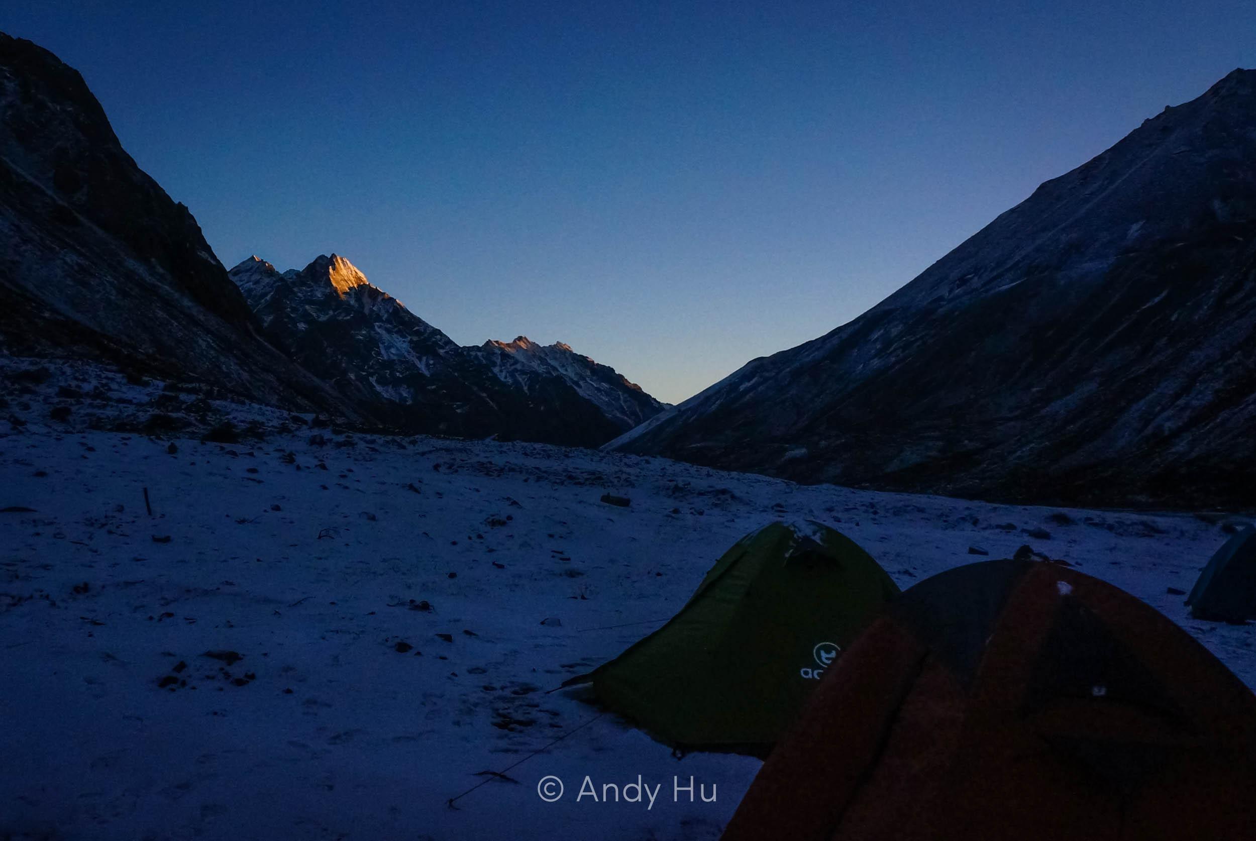 Sunset over Lower Riwoche campsite, day 1 Mt. Gongga Trek