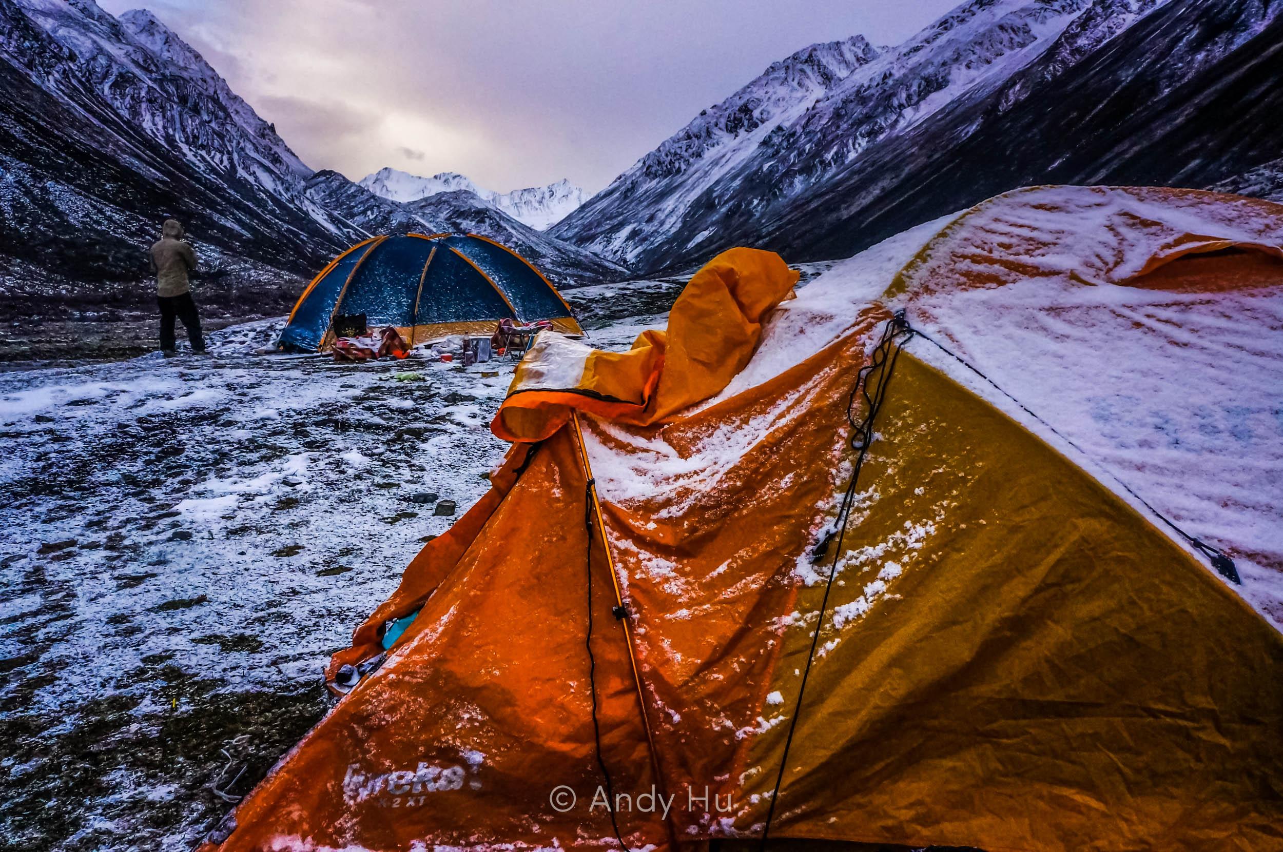 Dusk at campsite in Lower Riwoche, day 1 Mt. Gongga Trek
