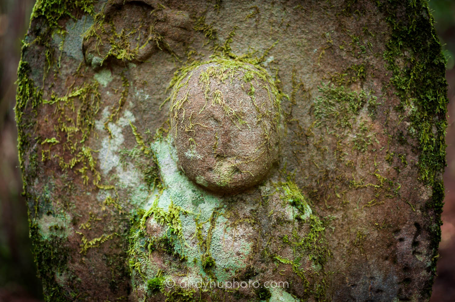 A portrait of a Jizo-stone buddha statue-along the kumano kodo,  Naka  he  chi Trail