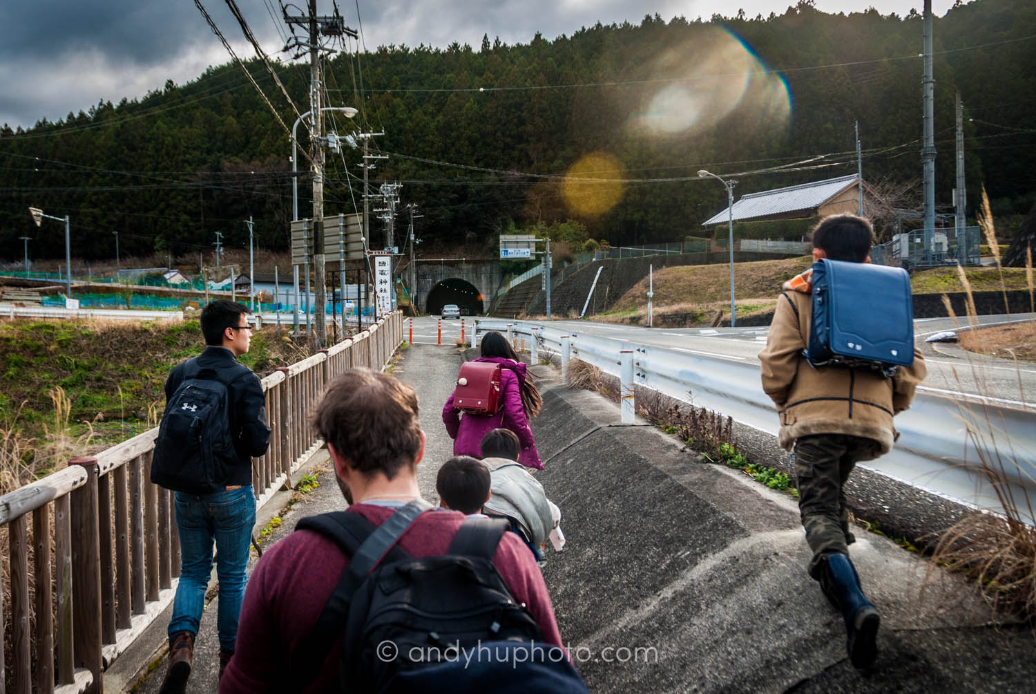 A group of school children lead us to our lodging in Chikatsuyu town, day 1 kumano kodo trek  Naka  he  chi Trail
