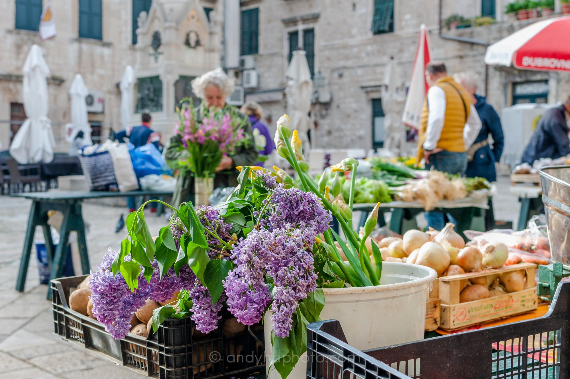Morning Market at Gundulic Square in Dubrovnik Grad
