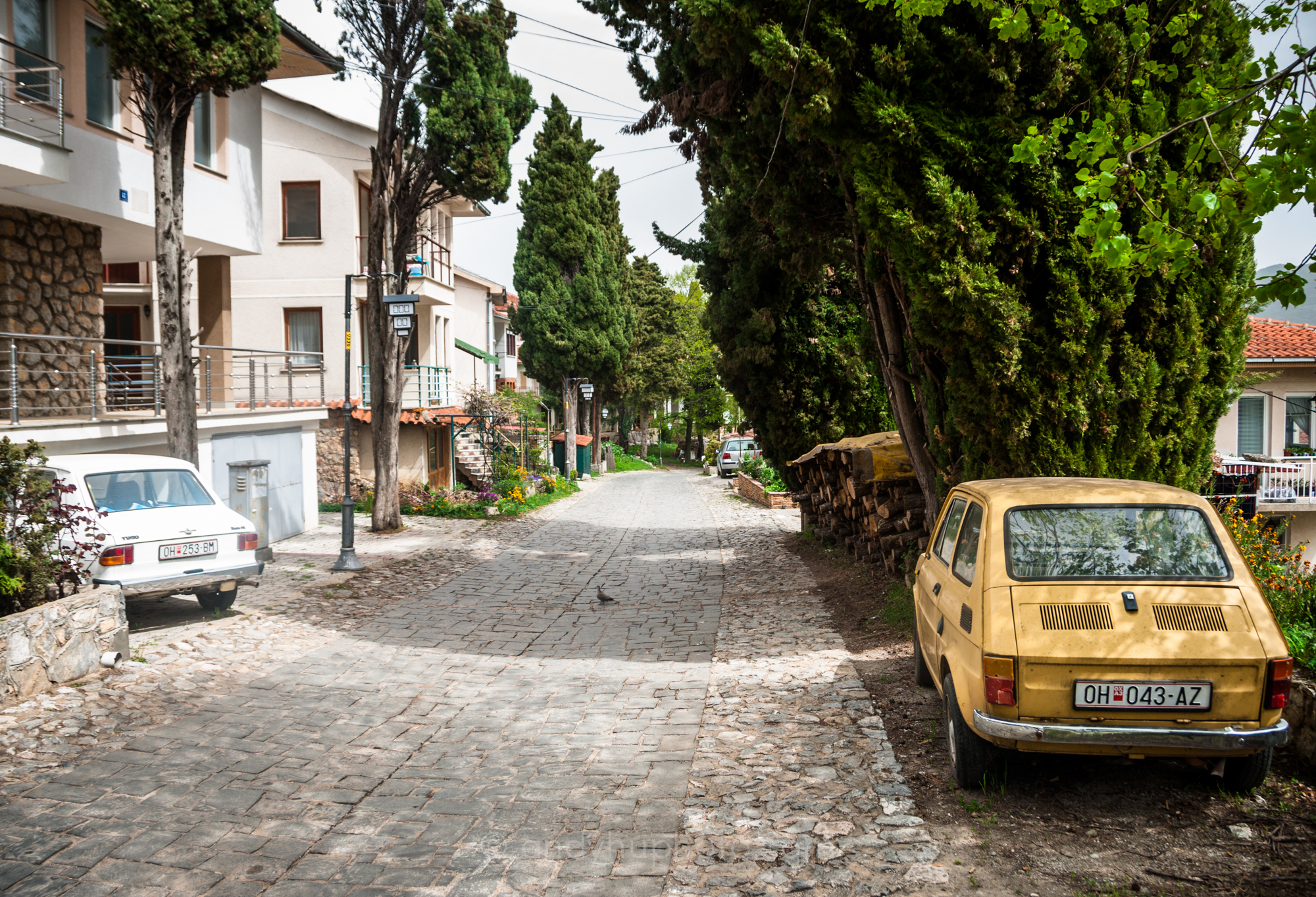 A sleepy street in Ohrid on the way to Tsar Samuel's Fortress