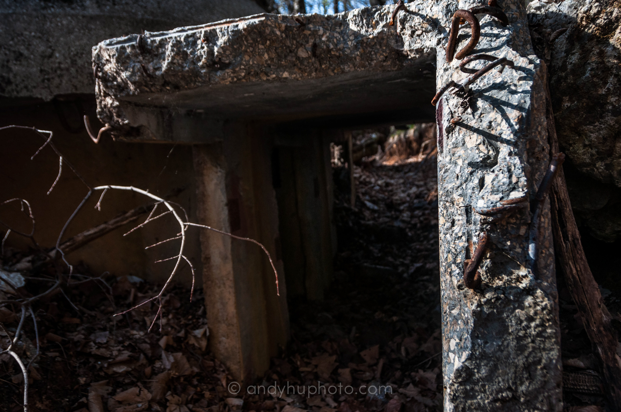 Entering a ruined bunker