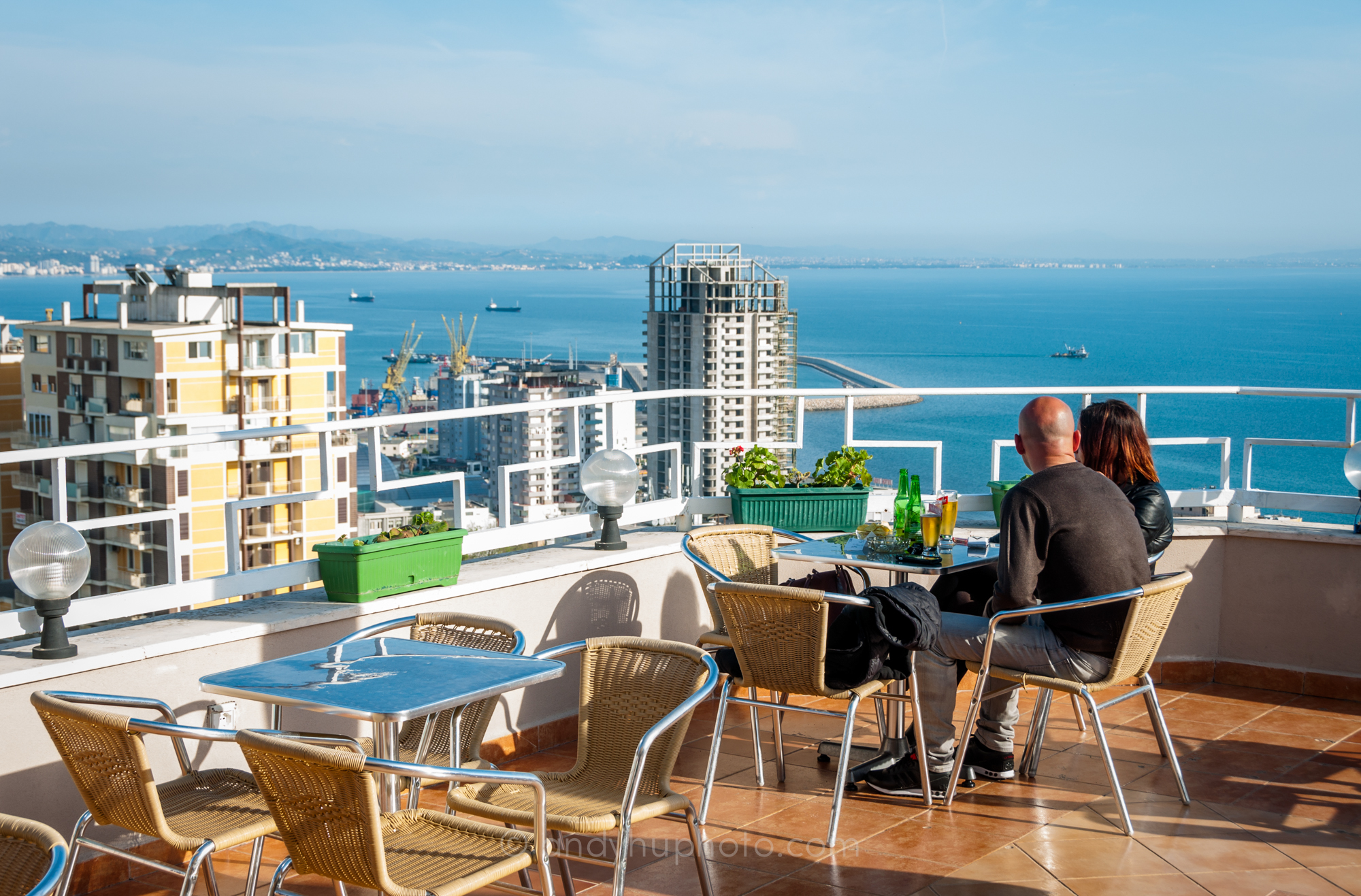 One of many rooftop cafes in Durrës