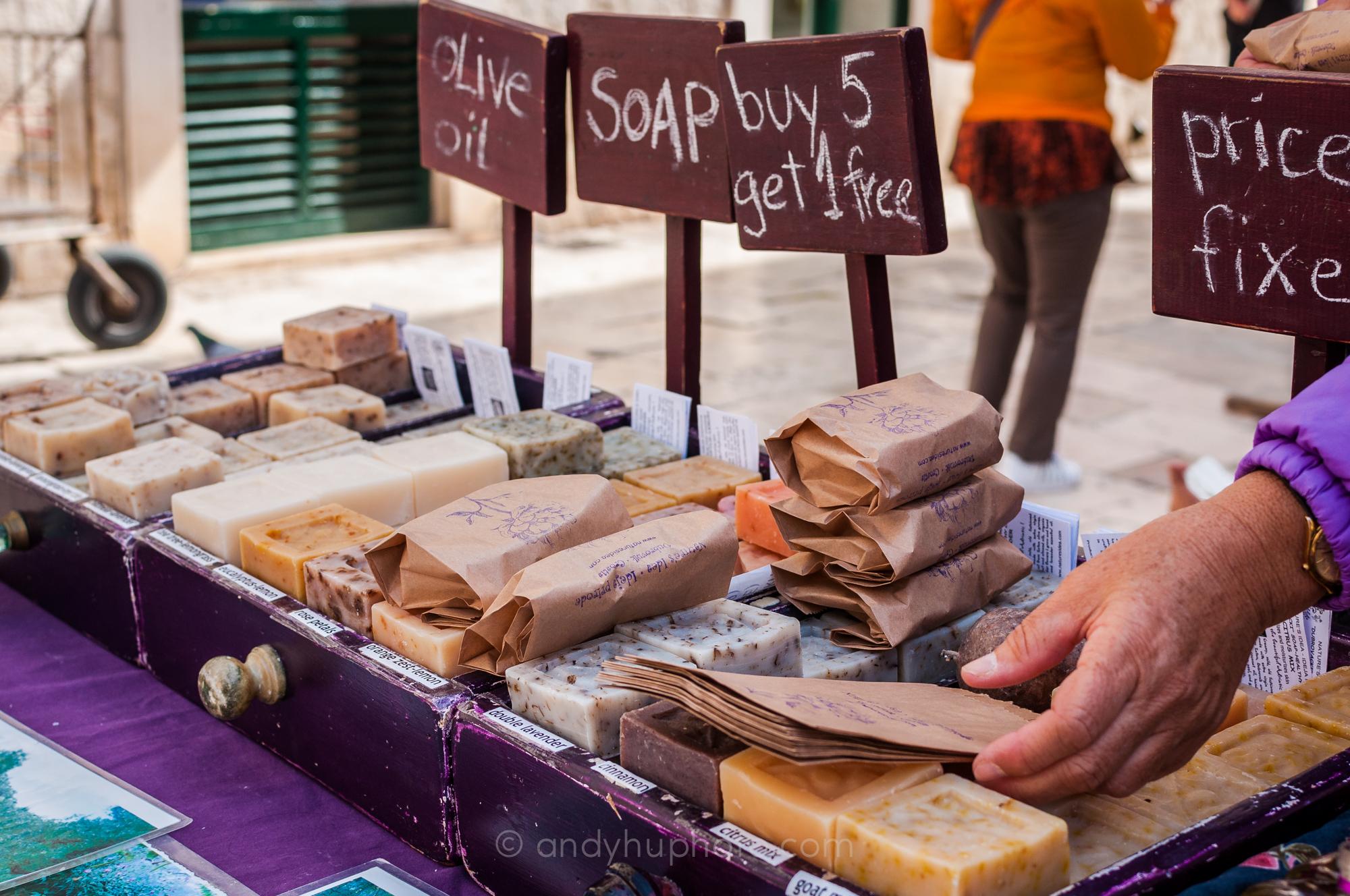 Organic soap vendor in Gundulic Square