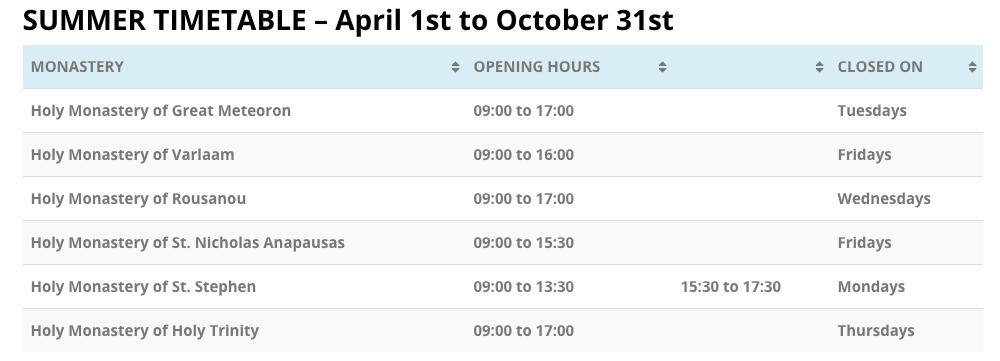 Meteora Monasteries summer timetable