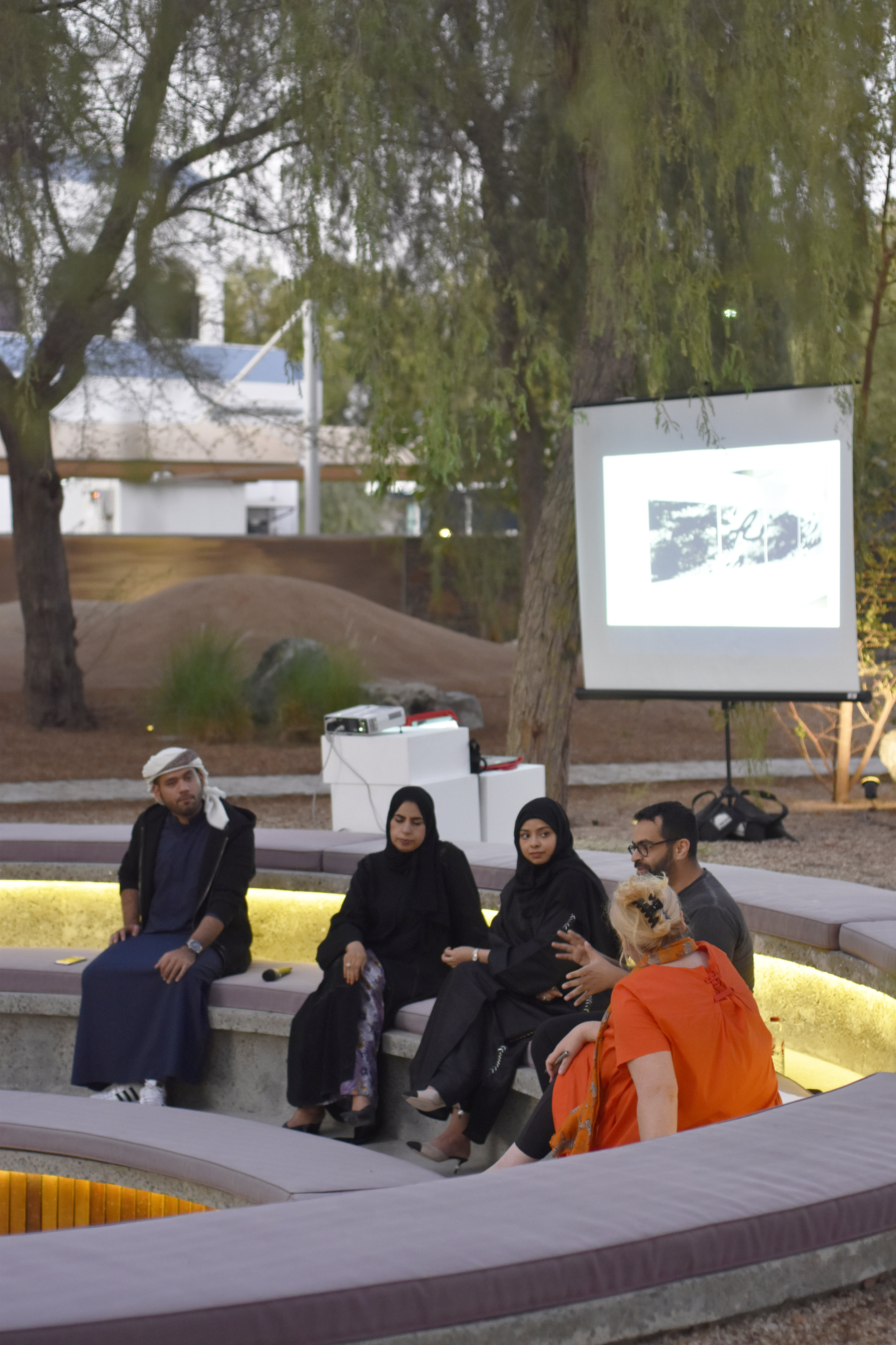 Tashkeel Talk with Saeed Al Madani, Dr. Karima Al Shomaly, Salama Nasib and Khalid Mezaina. Image courtesy of Tashkeel 6.jpg