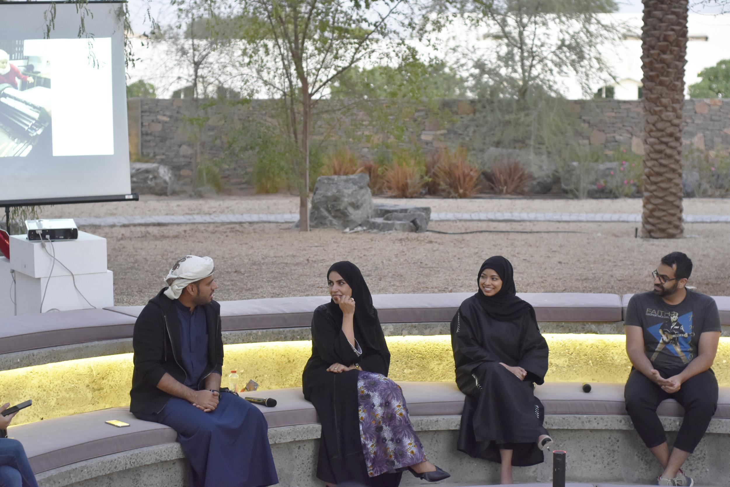 Tashkeel Talk with Saeed Al Madani, Dr. Karima Al Shomaly, Salama Nasib and Khalid Mezaina. Image courtesy of Tashkeel.jpg