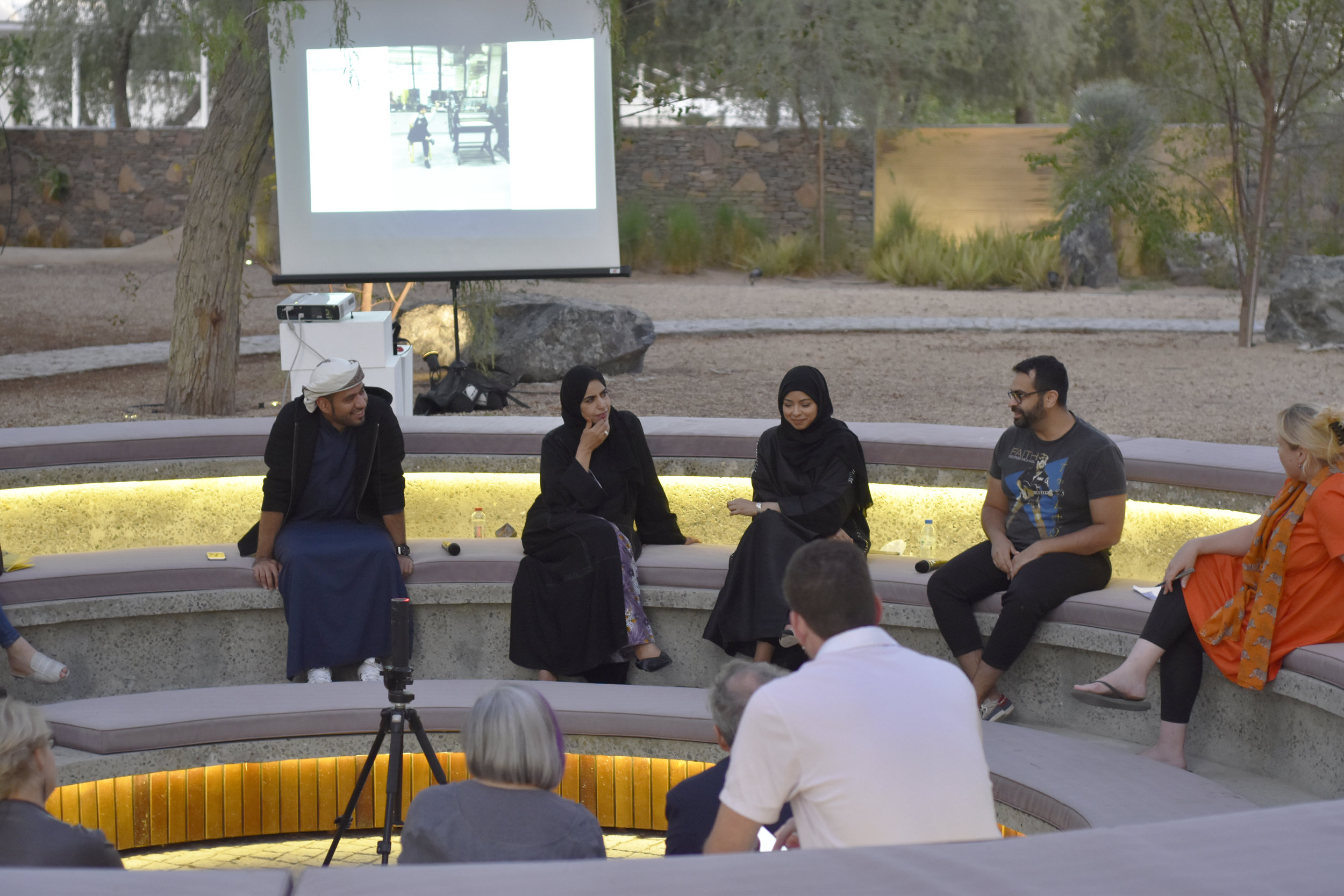 Tashkeel Talk with Saeed Al Madani, Dr. Karima Al Shomaly, Salama Nasib, Khalid Mezaina and moderator Lisa Ball-Lechgar. Image courtesy of Tashkeel.jpg