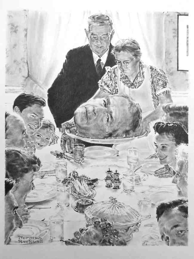 Thanksgiving, 2008, graphite on paper, 44 x 30 in.