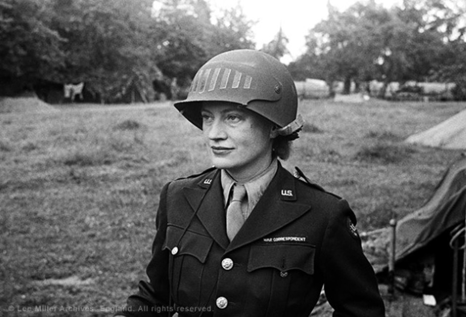 Lee Miller in steel helmet
