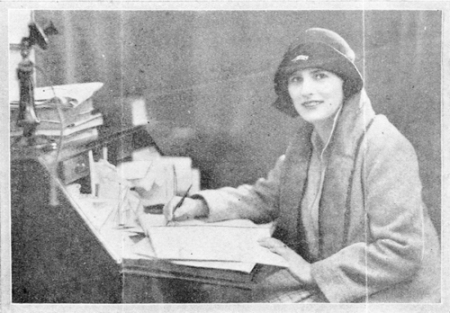 Rebecca West at her writing desk.