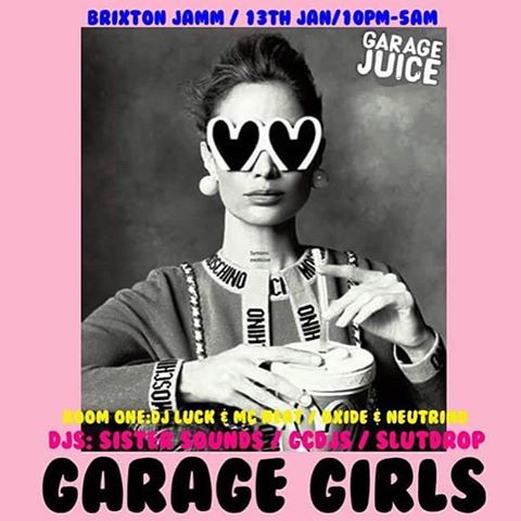 Head down to Room Two @brixtonjamm for GARAGE GIRLS with @sistersounds, @gcdj_ and @slutdropcsm. Room one with @djluck_and_mcneat and @oxideneutrino � #flyerdesign #musicflyer #moschino #fashiongram #pink #portrait #bw #blackandwhitephotography