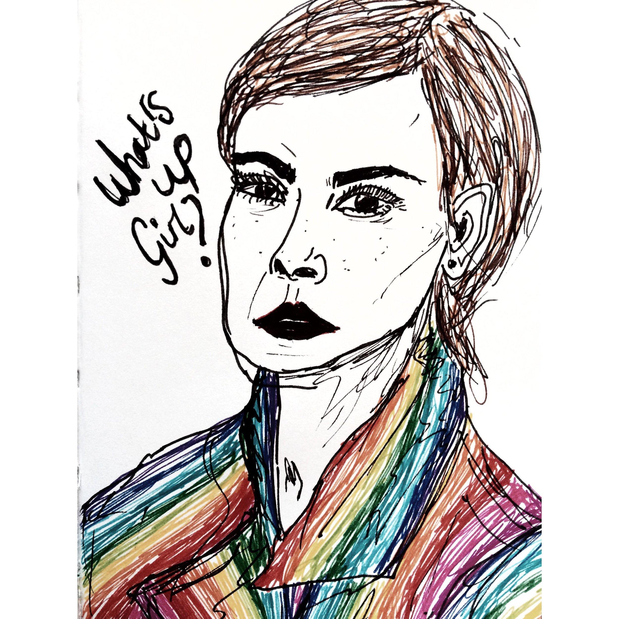 Emma Watson Portrait - What's up girl? - Artist: Ticaux