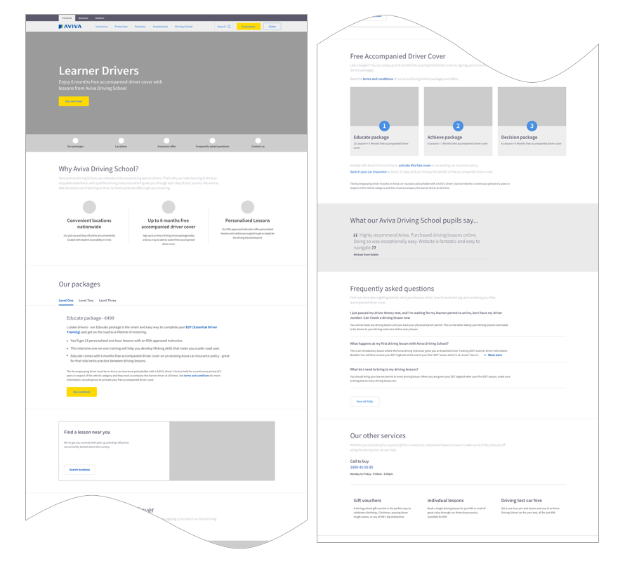 Wireframe of new Driving School product page