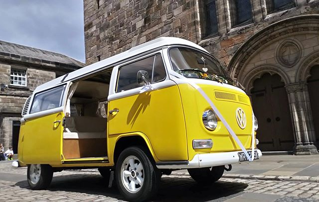 Congratulations to Alexandra & Aneurin who had our beautiful Little Mss Sunshine VW for their wedding yesterday in St Andrews. Our wonderful chauffeur John, who took this shot, thinks that Little Miss S may be our most photogenic camper and a think we do tend to agree 🙌😎☀️ #littlemisssunshine #scottishsummer . . . #yellowwedding #summerwedding #scottishwedding #weddingscotland #weddingweekend #alternativewedding #creativewedding #quirkywedding #retrowedding #bohowedding #festivalwedding #rusticwedding #vwwedding #scottishbride #liveyourdreams  #makeanentrance #arriveinstyle #vwcamper #getmetothechurchontime #scottishgroom #wedspiration #alternativetransport  #campervanwedding #weddinginspiration #2019brides #scottishweddingsupplier