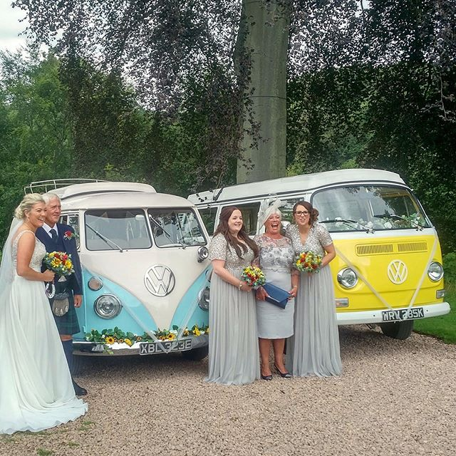 Congratulations to the beautiful Carly & Danny who got married at the stunning @fingaskcastle , their bright pops of colour with silver grey theme worked so well with Little Miss Sunshine and Lickety Split 😁☀️ . . . #scottishwedding #scottishweddings #weddingscotland #weddingweekend #alternativewedding #creativewedding #quirkywedding #retrowedding #bohowedding #festivalwedding #rusticwedding #vwwedding #scottishbride  #makeanentrance #arriveinstyle #vwcamper #getmetothechurchontime #scottishgroom #wedspiration #alternativetransport #campervanwedding #weddinginspiration #2019brides #scottishweddingsupplier
