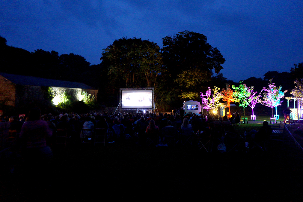 Outdoor open air cinema Grease at Pengenna Manor event venue in Cornwall 02.jpg