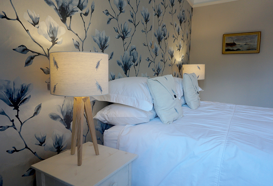 Luxury accommodation at wedding venue Pengenna Manor in Cornwall blue bedroom 02.jpg