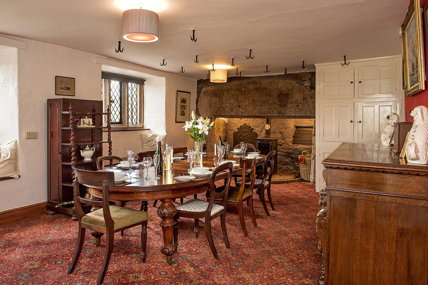 Luxurious dining room in the Medieval wing at Cornwall wedding venue Pengenna Manor 02.jpg