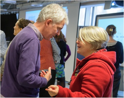 Sue Mayo in deep discussion with Adam Annand, Associate Director of Creative Learning at the London Bubble Theatre Company