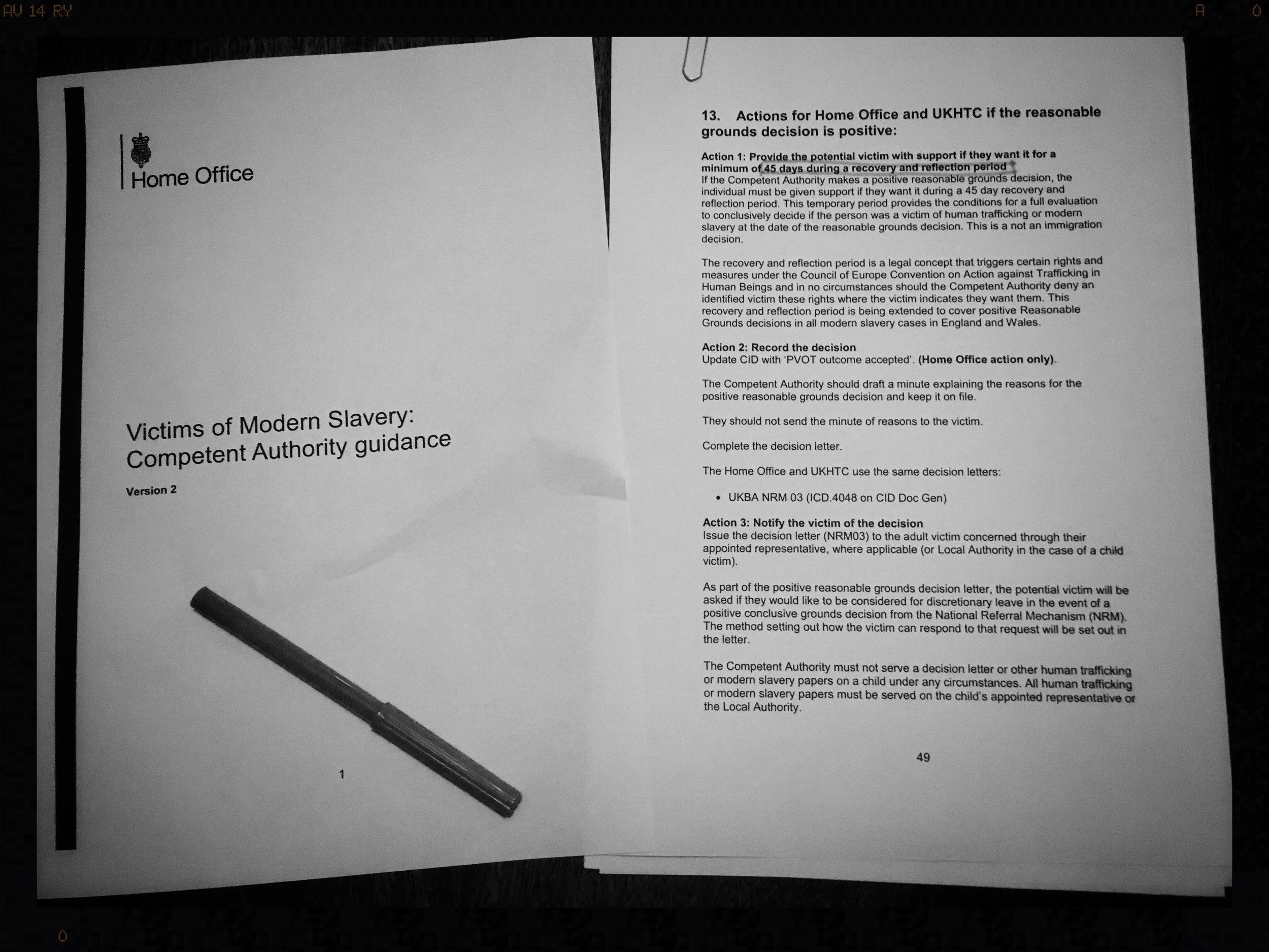 Home Office, Victims of Modern Slavery: Competent Authority guidance