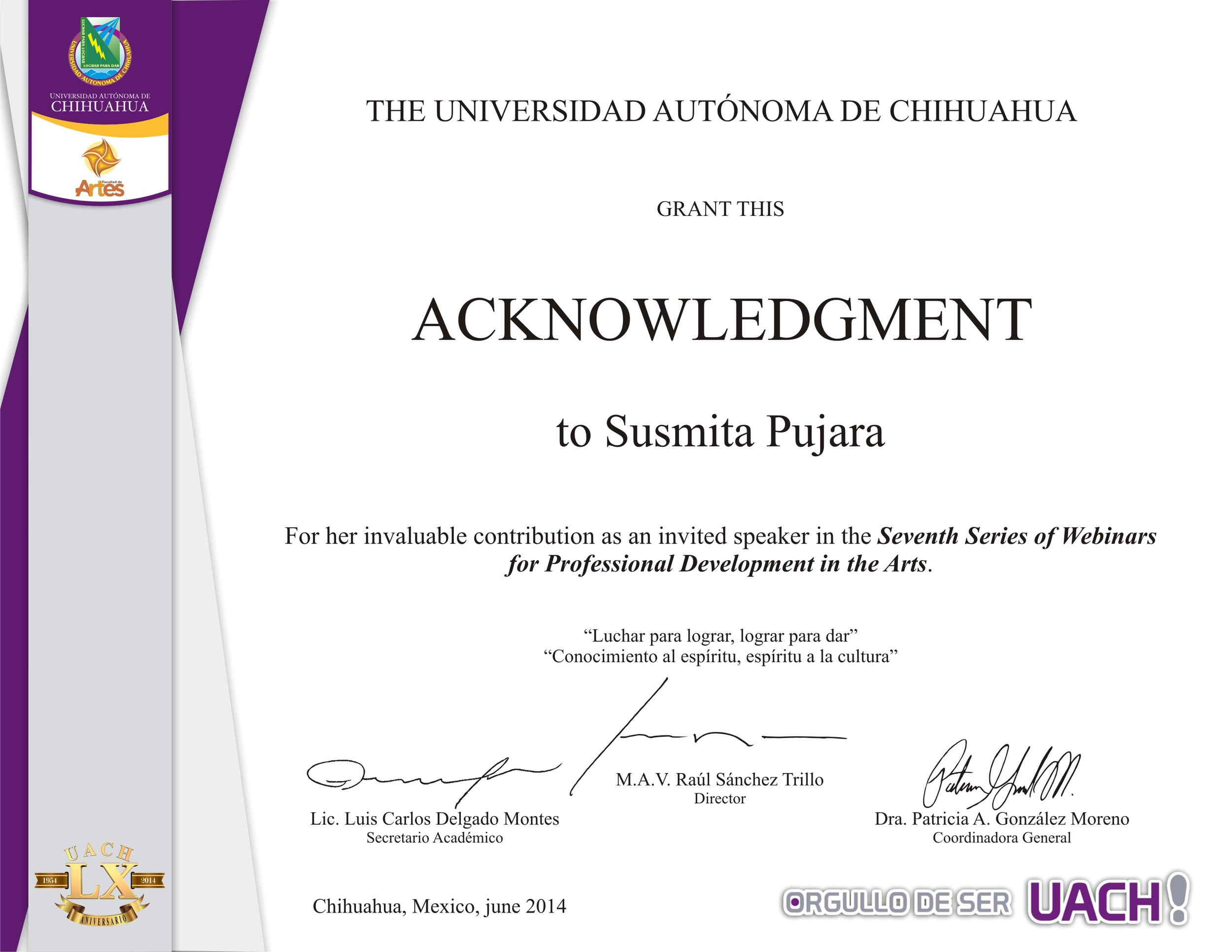 So nice to be sent this from the University of Chihuahua
